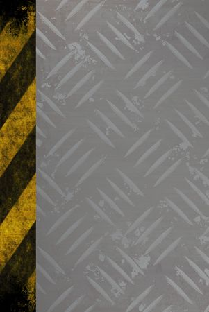Grungy diamond plate background texture with a yellow and black hazard stripes accent edge. photo