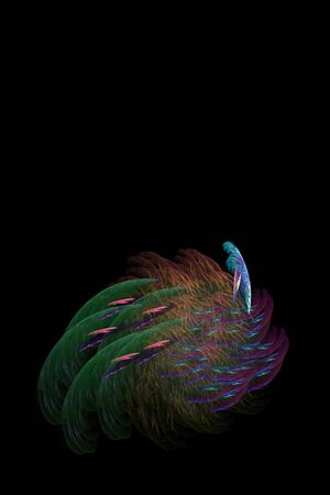 closely: An abstract fractal design that closely resembles a peacock. Stock Photo