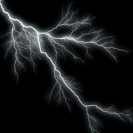 ferocious: Bolts of lightning isolated over a black background. Stock Photo