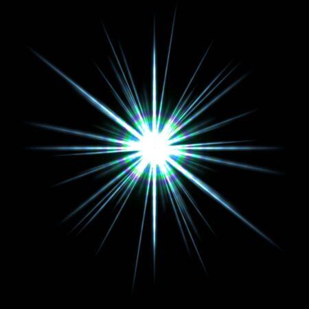 黒い背景に明るい太陽フレア。