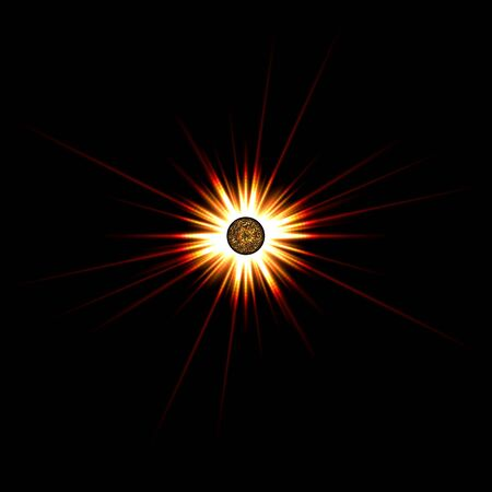 A bright solar flare over a black background. Stock Photo - 5100054