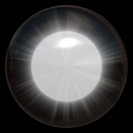 A bright glowing glass sphere or crystal ball. photo