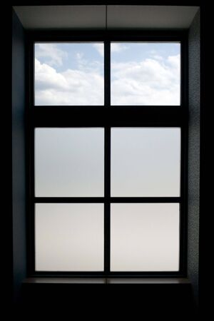 pane: Interior view of a modern window that has frosted glass on the lower panes.