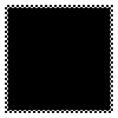 checker board: A black and white checkered flag border with copyspace.