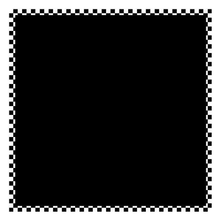 Een zwart-wit geruite vlag grens met copyspace. Stockfoto