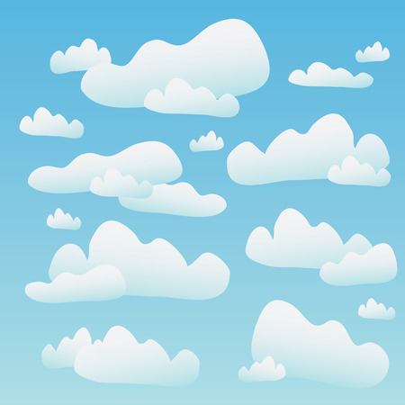 A blue sky full of fluffy cartoon clouds. This vector tiles seamlessly as a pattern horizontally.