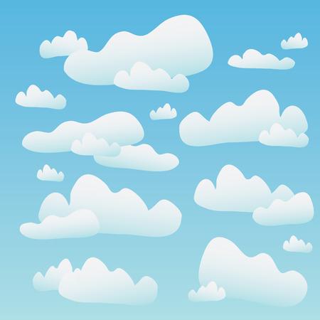 nubes caricatura: Un cielo azul lleno de nubes mullidas de dibujos animados. Este vector de azulejos perfectamente como un patr�n horizontal. Vectores
