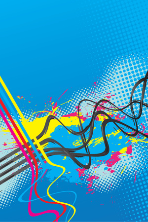 fully: Abstract layout with wavy lines in a cmyk color scheme.  This vector image is fully editable.