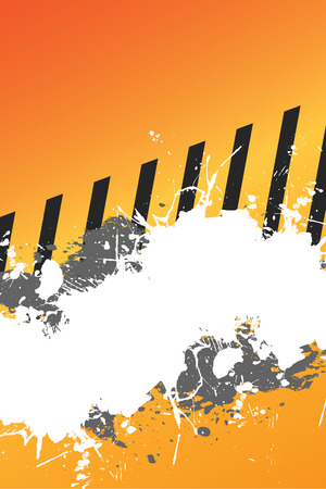 A hazard stripes layout with paint splatter effects.  This vector image is fully editable.