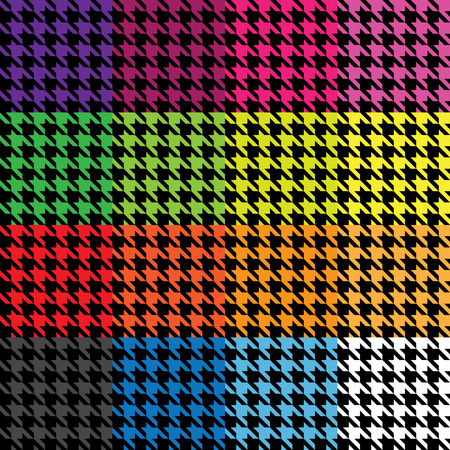 Trendy houndstooth patterns in a variety of different colors that tile seamlessly as a pattern. This vector is fully editable. Ilustração