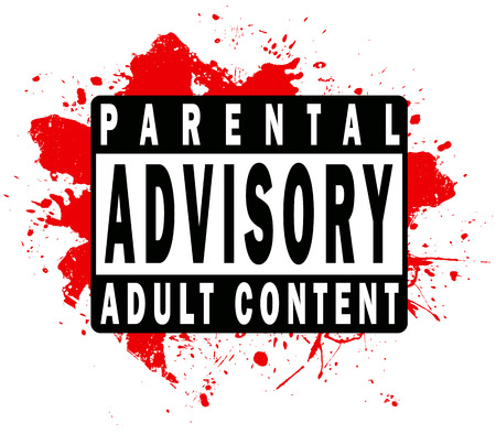 A parental advisory warning label for music or video of a mature nature. Stock Vector - 5181116