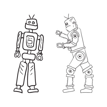 Vector drawing of two robots in different poses.   Vector