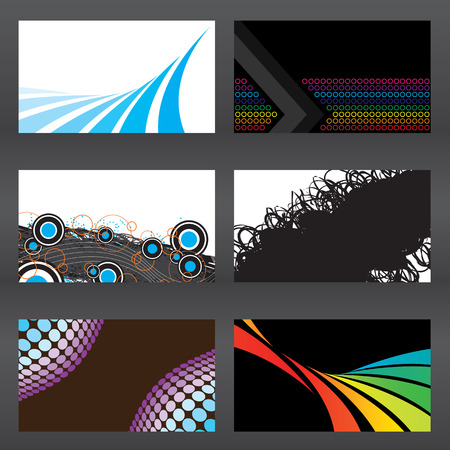 An assortment of six modern business card templates that are print ready and are fully customizable in vector format. Easily add your text and logo.