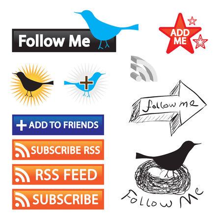 social networking: Una raccolta di pulsanti per mangimi di social networking e blogging. Facilmente personalizzare queste icone vettore per il proprio sito web.