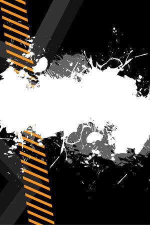 hazard stripes: A hazard stripes layout with paint splatter effects.  This vector image is fully editable.