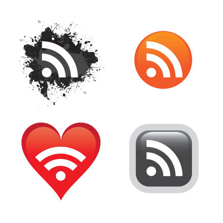 syndication: A collection of RSS feed buttons or icons for web design.  Easily customize these web 2.0 style vector icons for your own website. Illustration