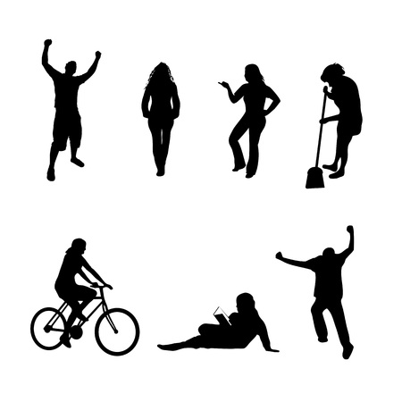 A collection of people silhouettes in different poses isolated over white.  All silhouettes were traced from photos found in my portfolio. Иллюстрация