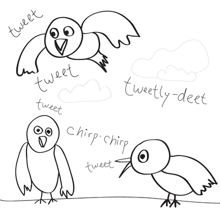 tweets: A collection of bird doodles isolated over white.  Easily customize these vector sketches to suit your needs. Illustration