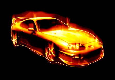 flaming: Abstract illustration of a fiery sports car isolated over black.