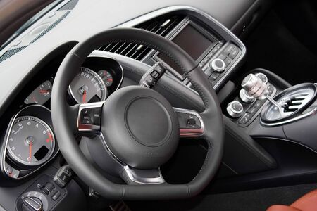 levers: The interior of a modern luxury sports car Stock Photo