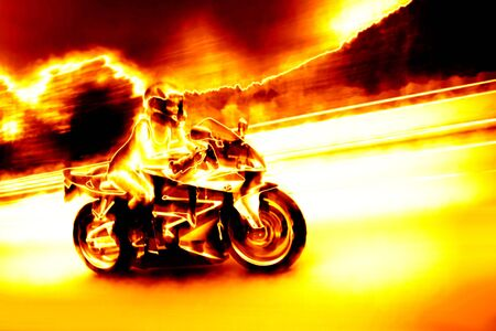 A woman in action driving a motorcycle at highway speeds with a fiery effect.