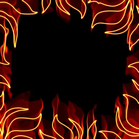 dangerous: A fiery square border with flaming pieces of foliage. Stock Photo