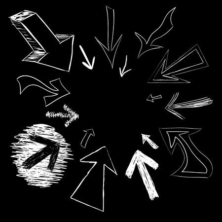 Vector arrow doodles pointing in a circular frame shape. Stock Vector - 5355189