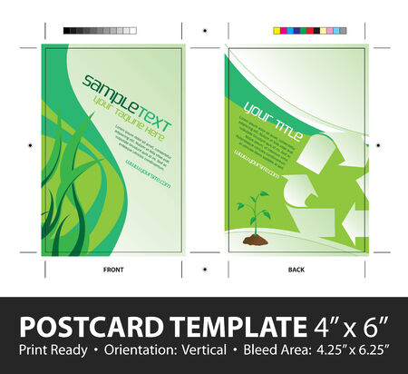 postcard: A going green postcard or direct mailer design template with sample text. Easily customize this vector image to suit the needs of your business. Print ready 4 x 6 with bleeds and crop marks.