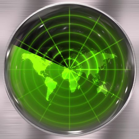 The world map in a radar screen - blips can be added easily anywhere they are needed. Stock fotó - 5516351