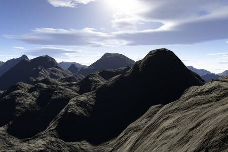 rockies: A super realistic 3d render of a rocky mountainous region.