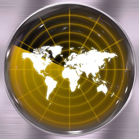 A world radar screen - blips can be added easily anywhere they are needed.  This could be used for a variety of concepts. Stock Photo - 5546757
