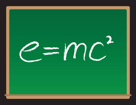 relativity: A vector drawing of a chalkboard with the theory of relativity written on it.