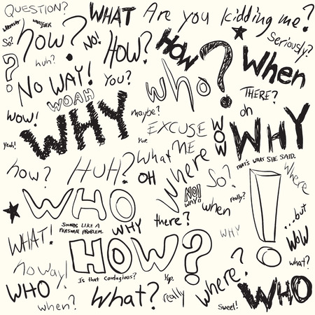 when: Questions doodled in black ink over white in vector format.
