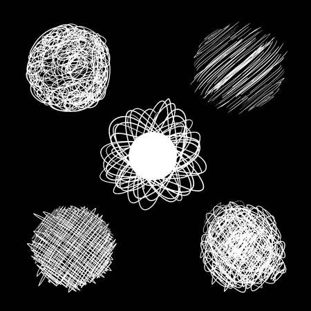 Sphere shaped balls doodled in white over a black background in vector format.