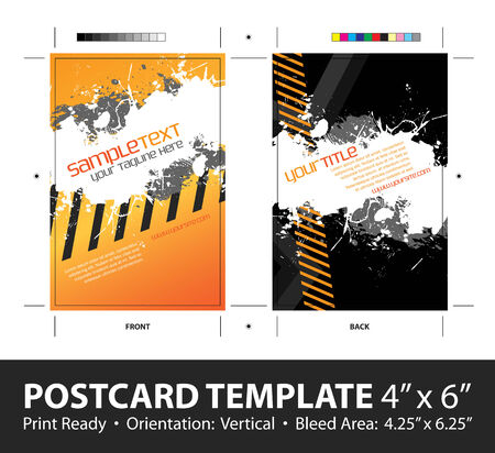 mailer: A hazard stripes postcard or direct mailer design template with sample text. Easily customize this vector image to suit the needs of your business. Print ready 4 x 6 with bleeds and crop marks.