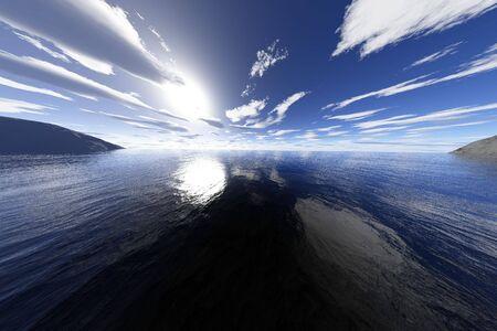 A super realistic 3d render of a coastal ocean or lake area.