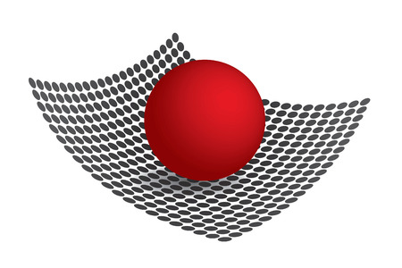 A 3d sphere resting upon a matrix made out of circles.