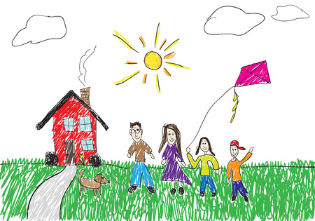 A childish drawing of a family standing in front of their home.  This vector illustration is fully editable.
