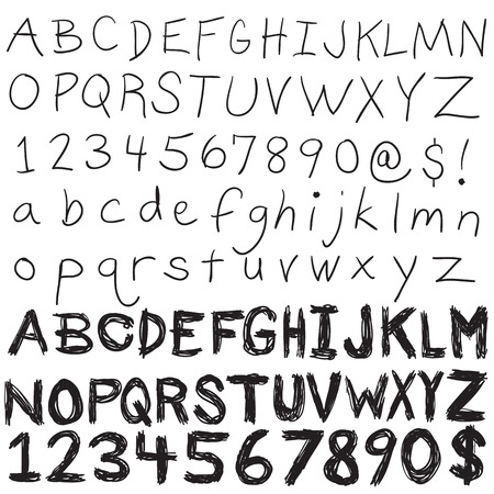 A set of hand written letters and numbers.  The complete alphabet doodled in both upper and lower case in an easily editable vector format. Vector