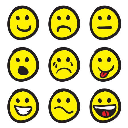 アイコン セットの多彩な表情で漫画にこやかな顔の。