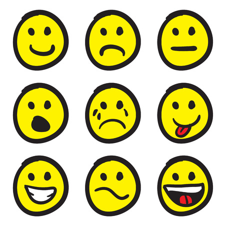 An icon set of cartoon smiley faces in a variety of expressions. Çizim