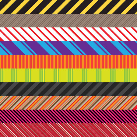 design elements: Stripes patterns in an assortment of colors and styles.  Easily use these to create seamless backgrounds or use them in other elements. Illustration