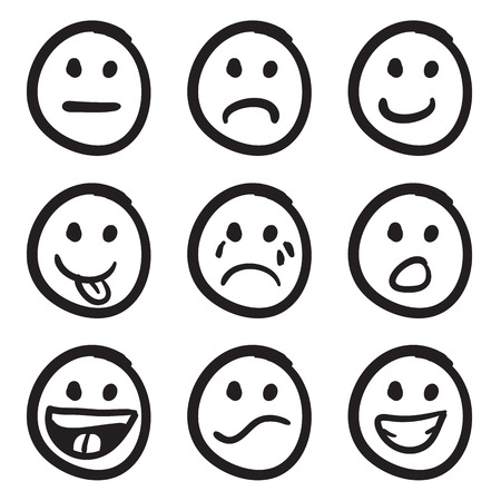 feelings of happiness: An icon set of doodled cartoon smiley faces in a variety of expressions.