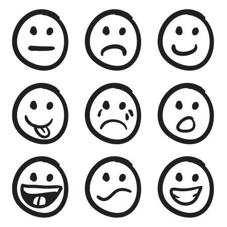 cara triste: Un conjunto de iconos de caras sonrientes de dibujos animados garabatos en una variedad de expresiones. Vectores