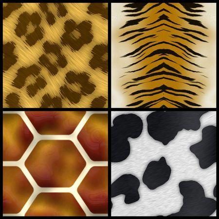 fabric textures: Set of animal print swatches that all tile seamlessly as a pattern.