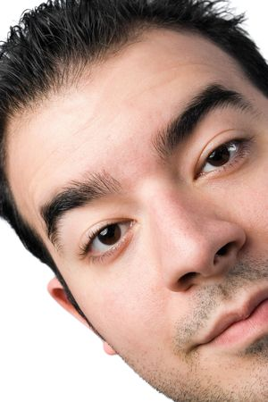 sideburns: A close up of a young man in his twenties. Stock Photo