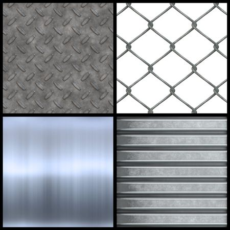 Metal texture collection with brushed aluminum corrugated steel chain linked fencing and diamond plate seamless patterns. Higher resolution versions are also available in my portfolio. photo