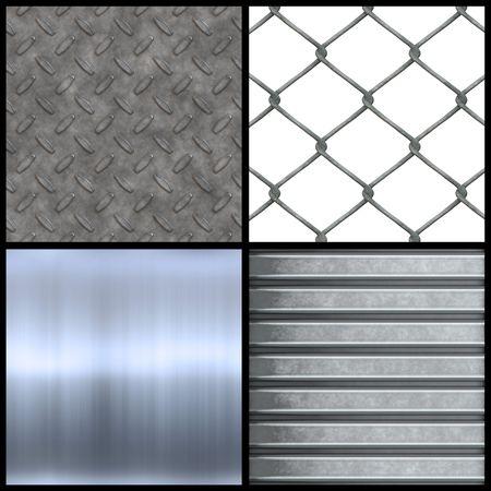 chainlinked: Metalen textuur collectie met geborsteld aluminium gegolfde stalen ketting verbonden hekwerk en diamanten plaat naadloze patronen. Hogere resolutie versies zijn ook beschikbaar in mijn portefeuille.