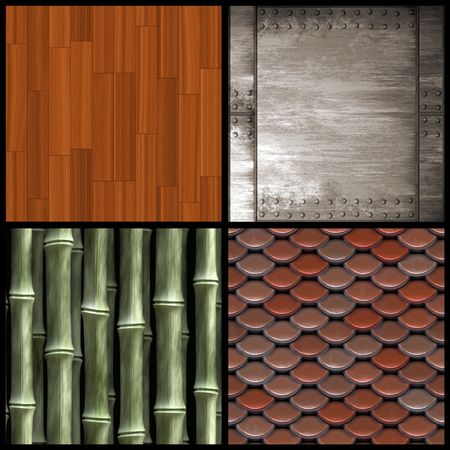 An assortment of four textures including wood parquetry bamboo roof shingles and riveted metal.  Higher resolution versions are also available in my portfolio.