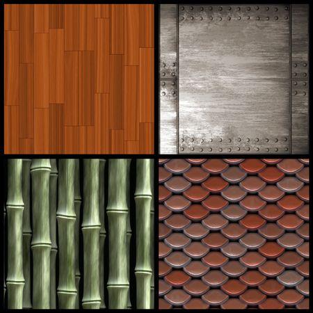 shingles: Un surtido de cuatro texturas incluidas las tejas del techo parquet de bamb� de madera y de metal remachado. Versiones de mayor resoluci�n tambi�n est�n disponibles en mi cartera. Foto de archivo